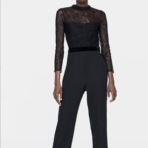 NWT's Black Zara JumpSuit with Lace Size Medium M